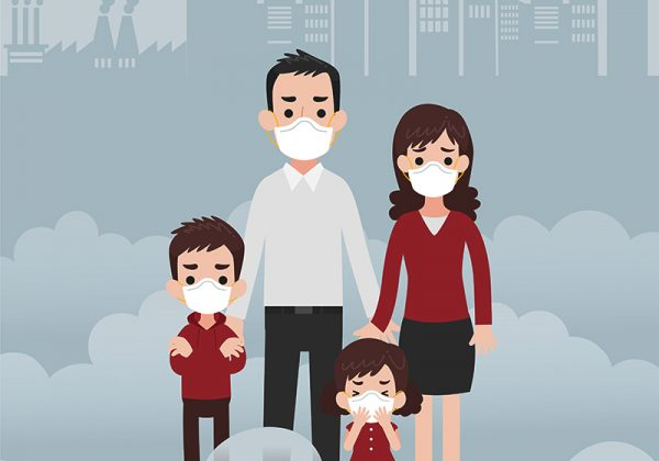People wearing protective face masks Character Medical Health care concept, factory pipes emitting smoke on background. Fine dust, PM 2.5, air pollution, industrial smog, pollutant gas emission.